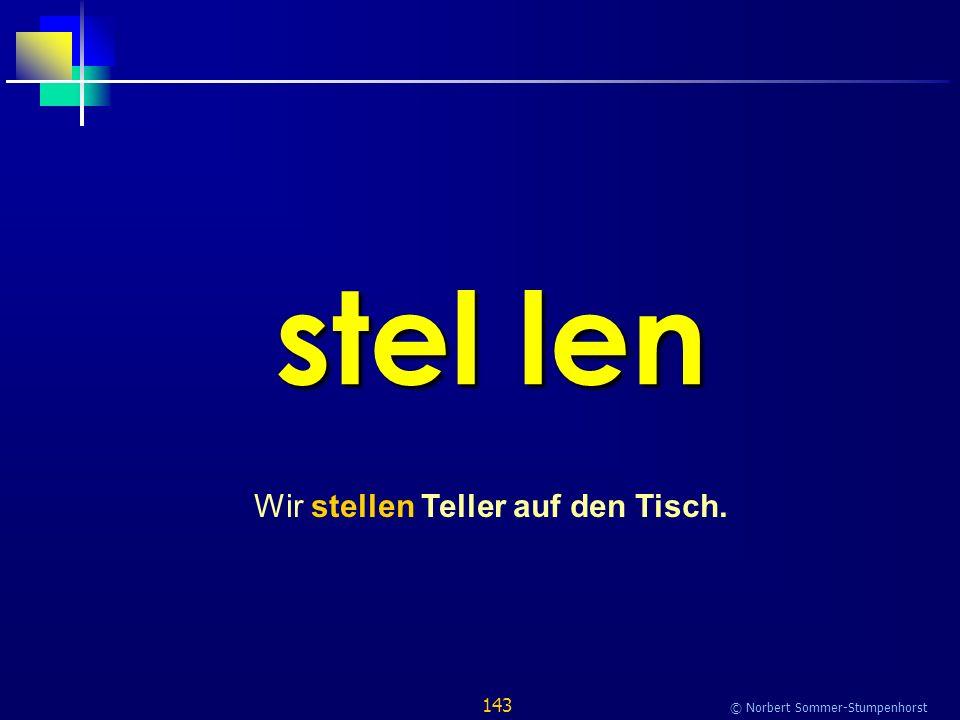 143 © Norbert Sommer-Stumpenhorst stel len Wir stellen Teller auf den Tisch.