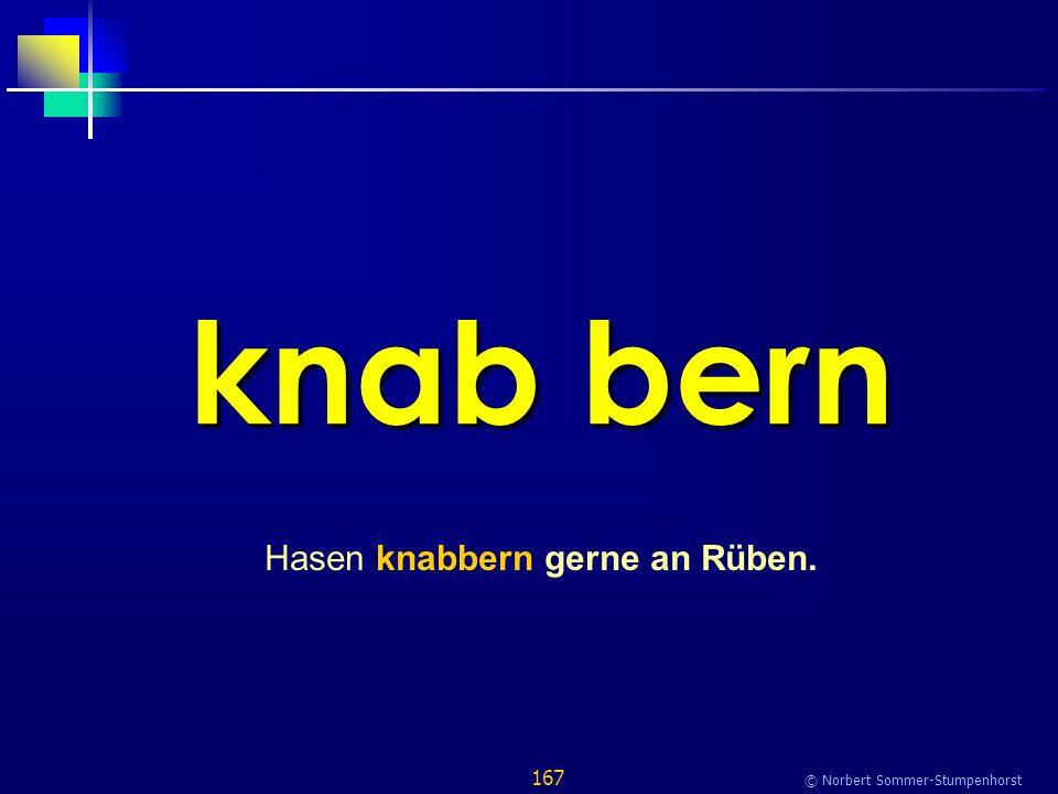167 © Norbert Sommer-Stumpenhorst knab bern Hasen knabbern gerne an Rüben.