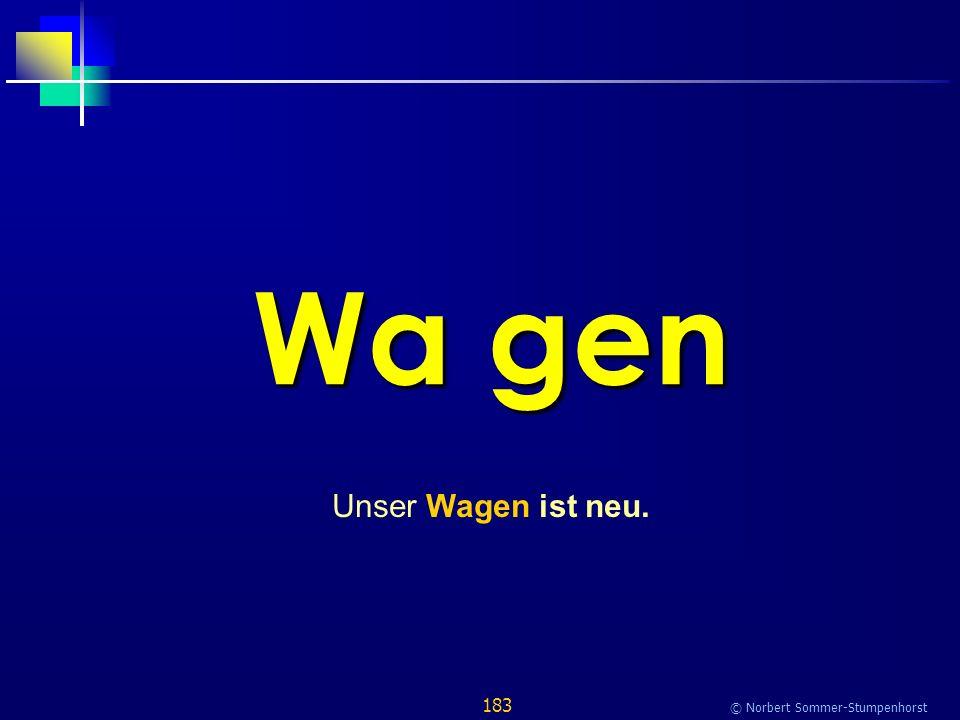 183 © Norbert Sommer-Stumpenhorst Wa gen Unser Wagen ist neu.
