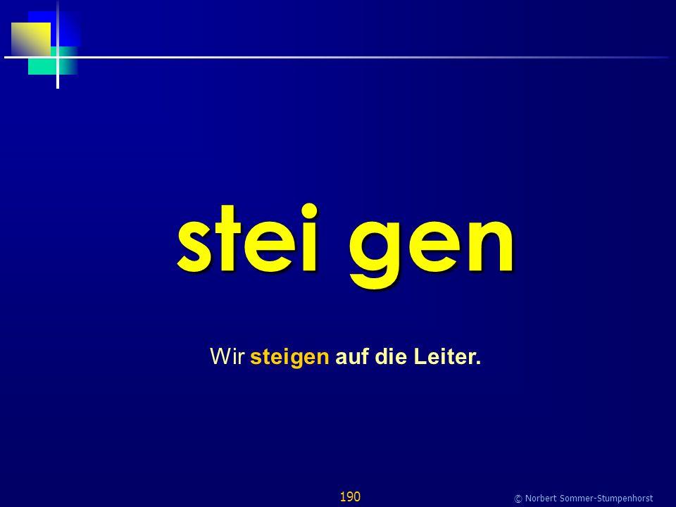 190 © Norbert Sommer-Stumpenhorst stei gen Wir steigen auf die Leiter.
