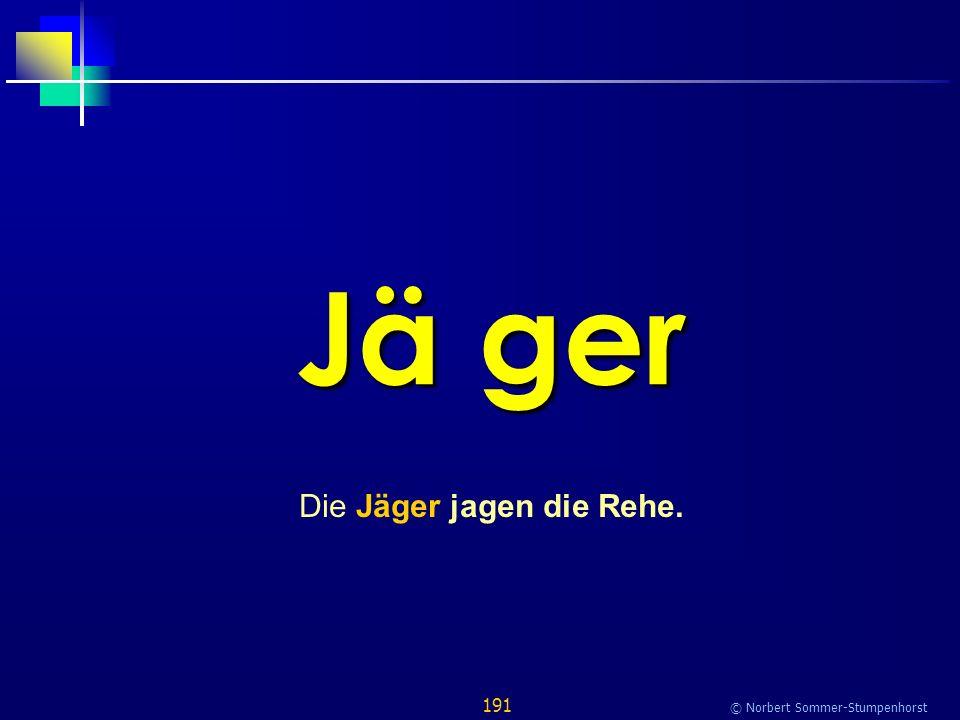 191 © Norbert Sommer-Stumpenhorst Jä ger Die Jäger jagen die Rehe.