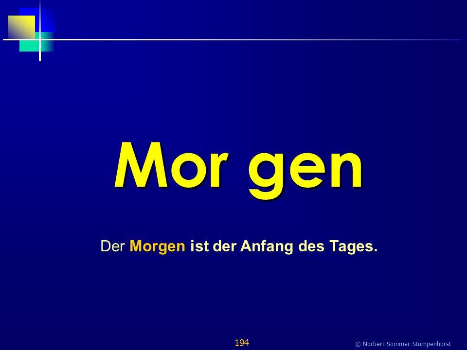 194 © Norbert Sommer-Stumpenhorst Mor gen Der Morgen ist der Anfang des Tages.