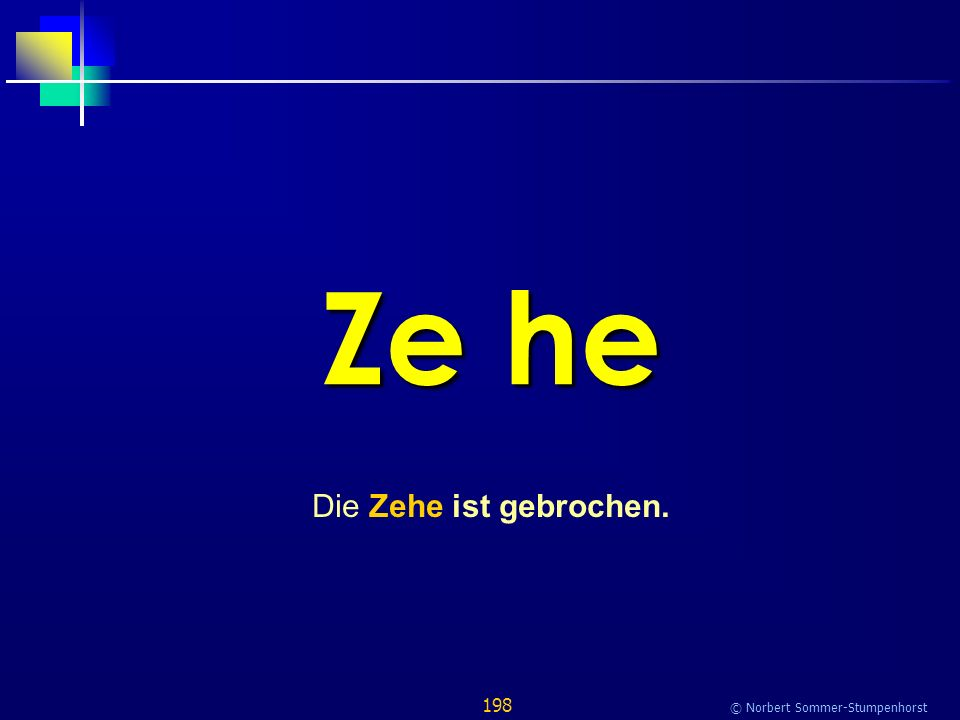 198 © Norbert Sommer-Stumpenhorst Ze he Die Zehe ist gebrochen.
