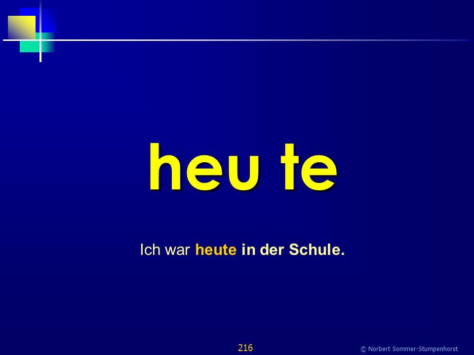 216 © Norbert Sommer-Stumpenhorst heu te Ich war heute in der Schule.
