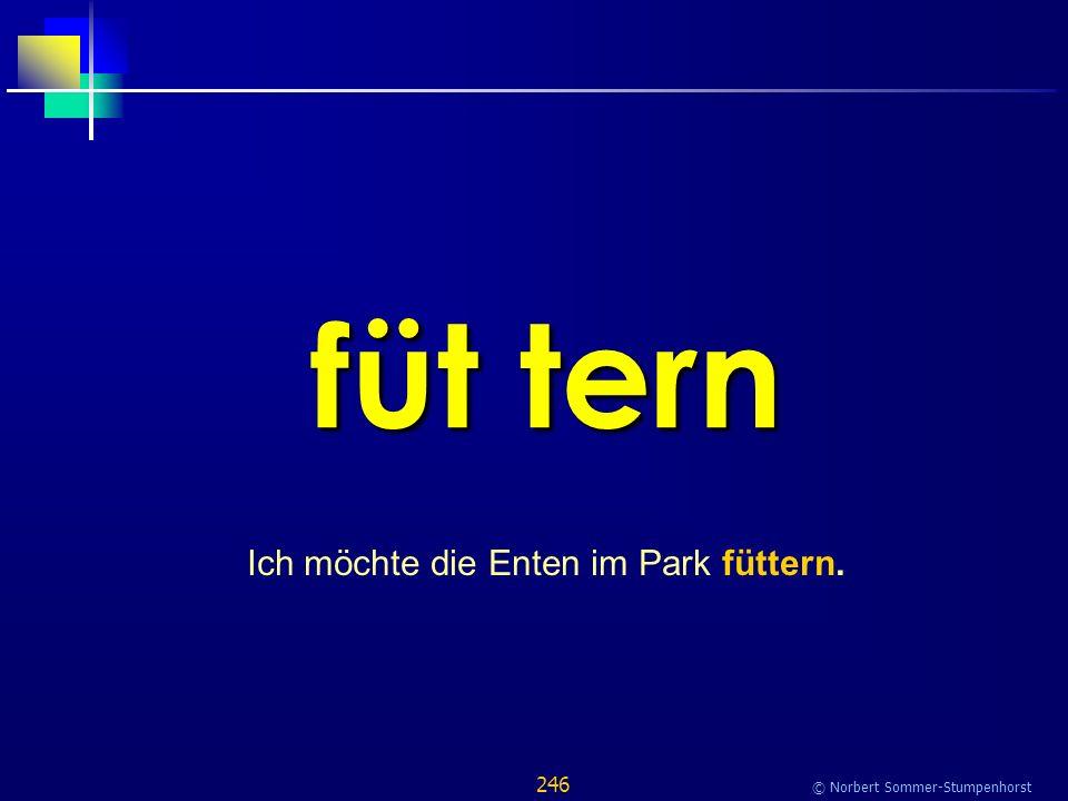 246 © Norbert Sommer-Stumpenhorst füt tern Ich möchte die Enten im Park füttern.