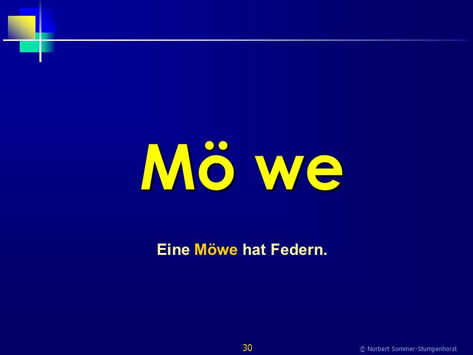 30 © Norbert Sommer-Stumpenhorst Mö we Eine Möwe hat Federn.