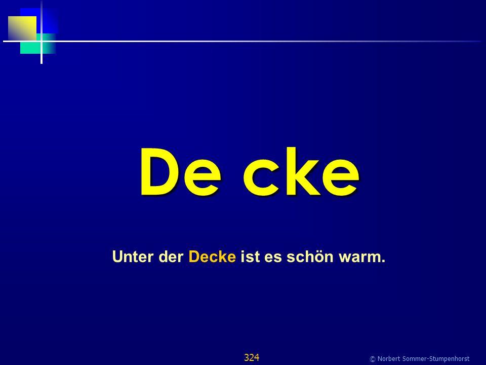 324 © Norbert Sommer-Stumpenhorst De cke Unter der Decke ist es schön warm.