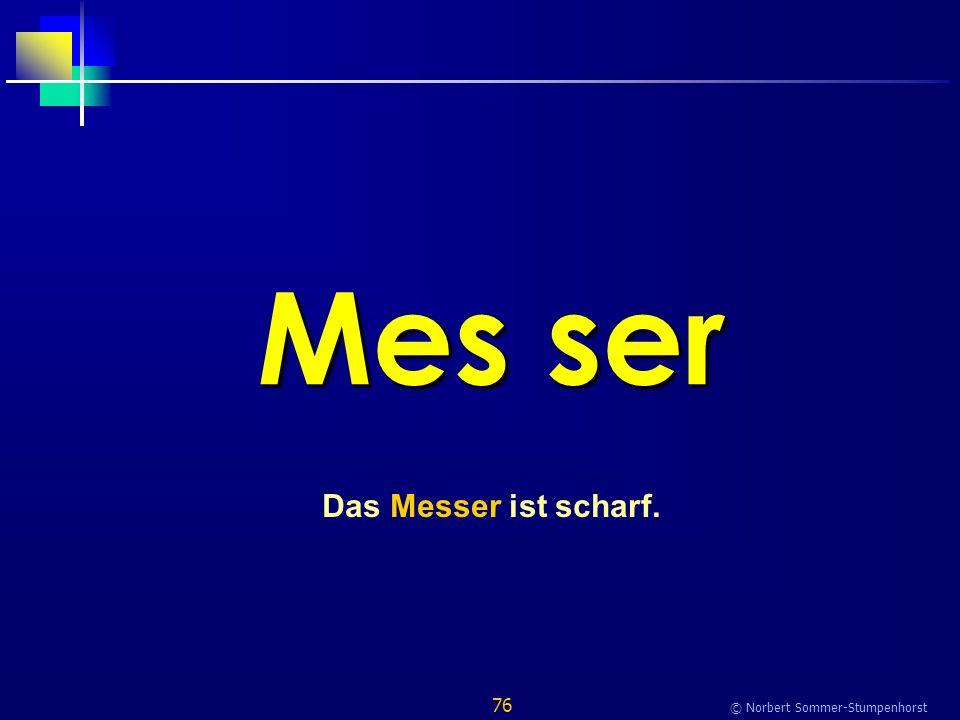76 © Norbert Sommer-Stumpenhorst Mes ser Das Messer ist scharf.