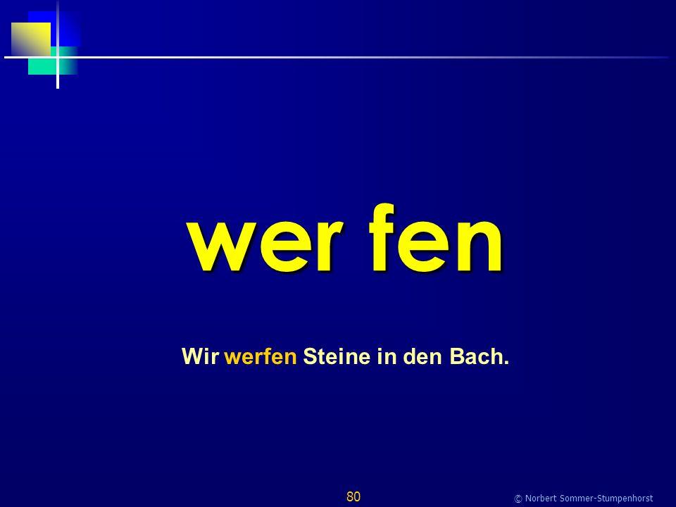80 © Norbert Sommer-Stumpenhorst wer fen Wir werfen Steine in den Bach.