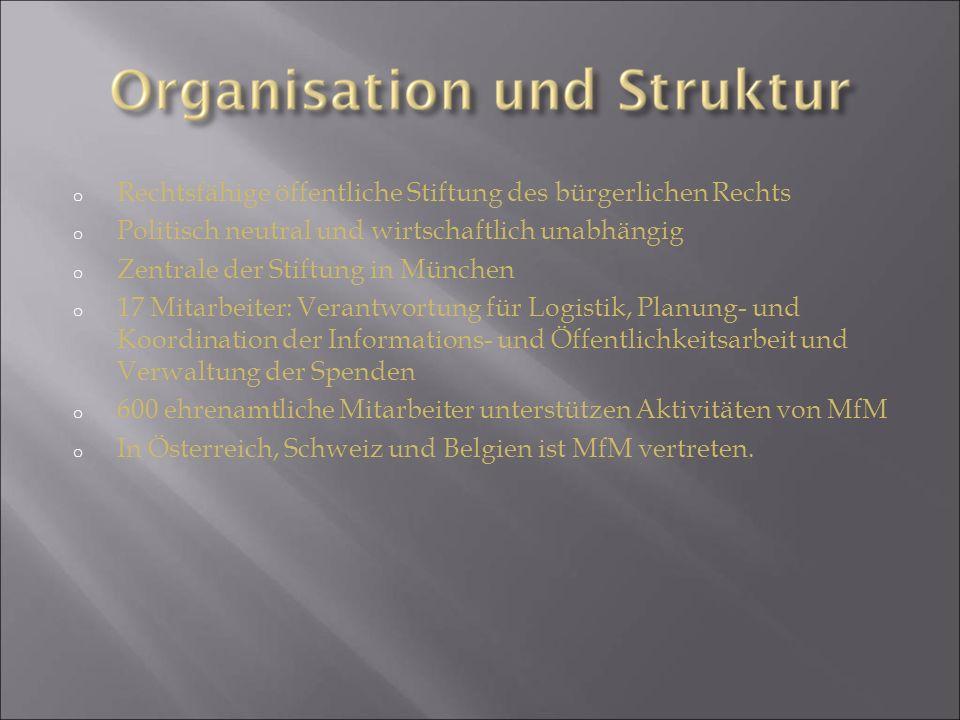 o Rechtsfähige öffentliche Stiftung des bürgerlichen Rechts o Politisch neutral und wirtschaftlich unabhängig o Zentrale der Stiftung in München o 17