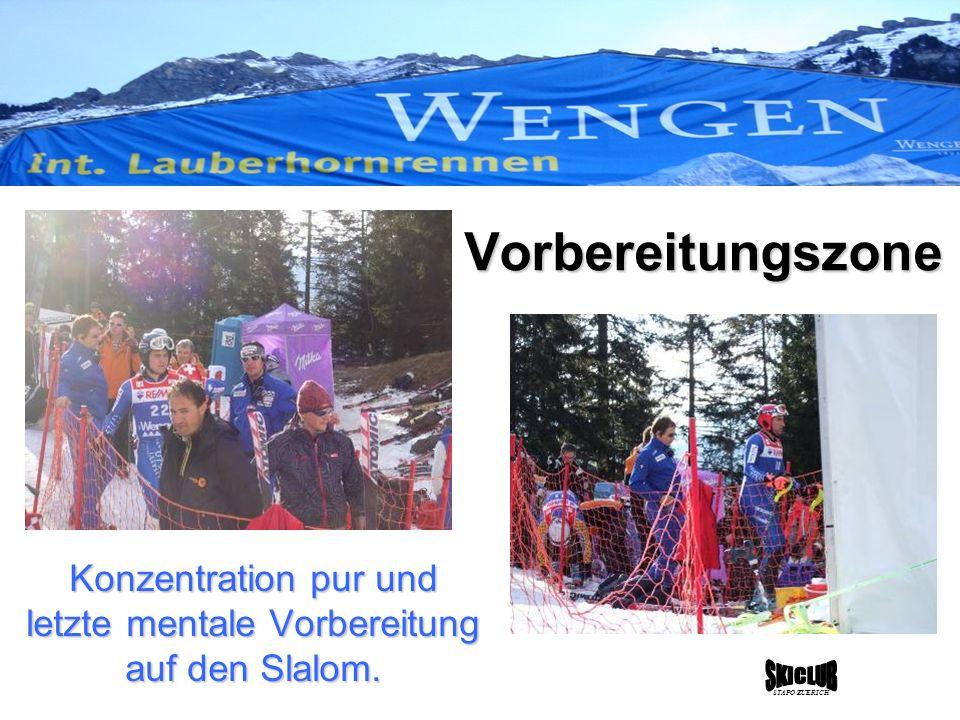 Konzentration pur und letzte mentale Vorbereitung auf den Slalom. STAPO ZUERICH Vorbereitungszone