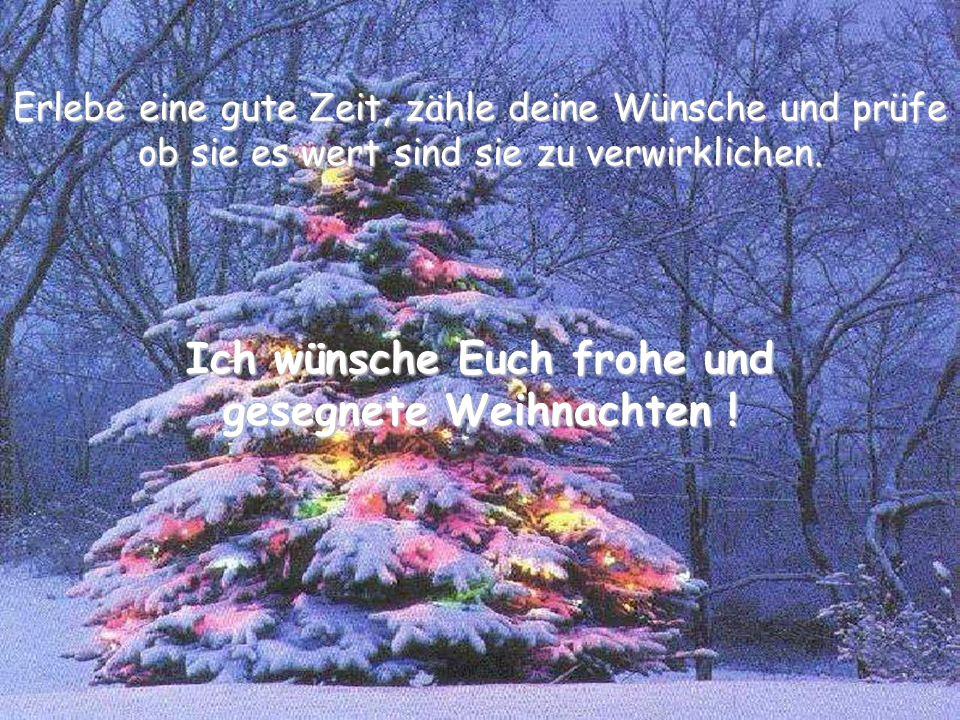 Erlebe eine gute Zeit, zähle deine Wünsche und prüfe ob sie es wert sind sie zu verwirklichen. Ich wünsche Euch frohe und gesegnete Weihnachten !