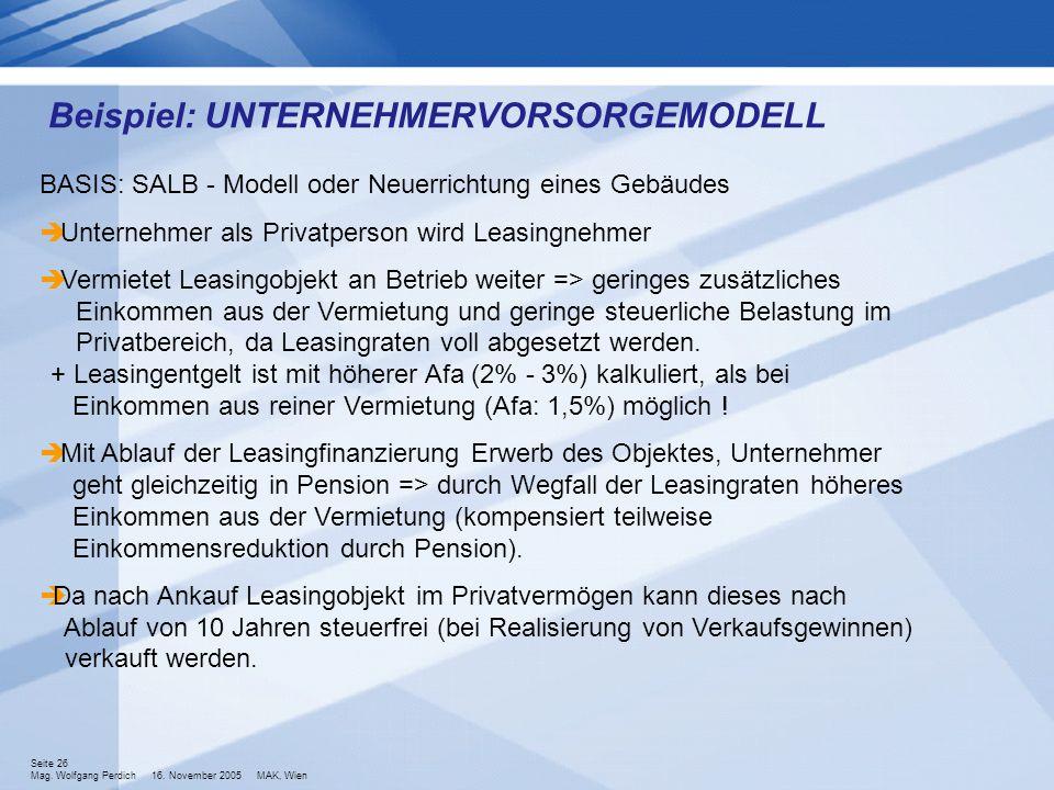 Seite 26 Mag. Wolfgang Perdich 16. November 2005 MAK, Wien BASIS: SALB - Modell oder Neuerrichtung eines Gebäudes Unternehmer als Privatperson wird Le