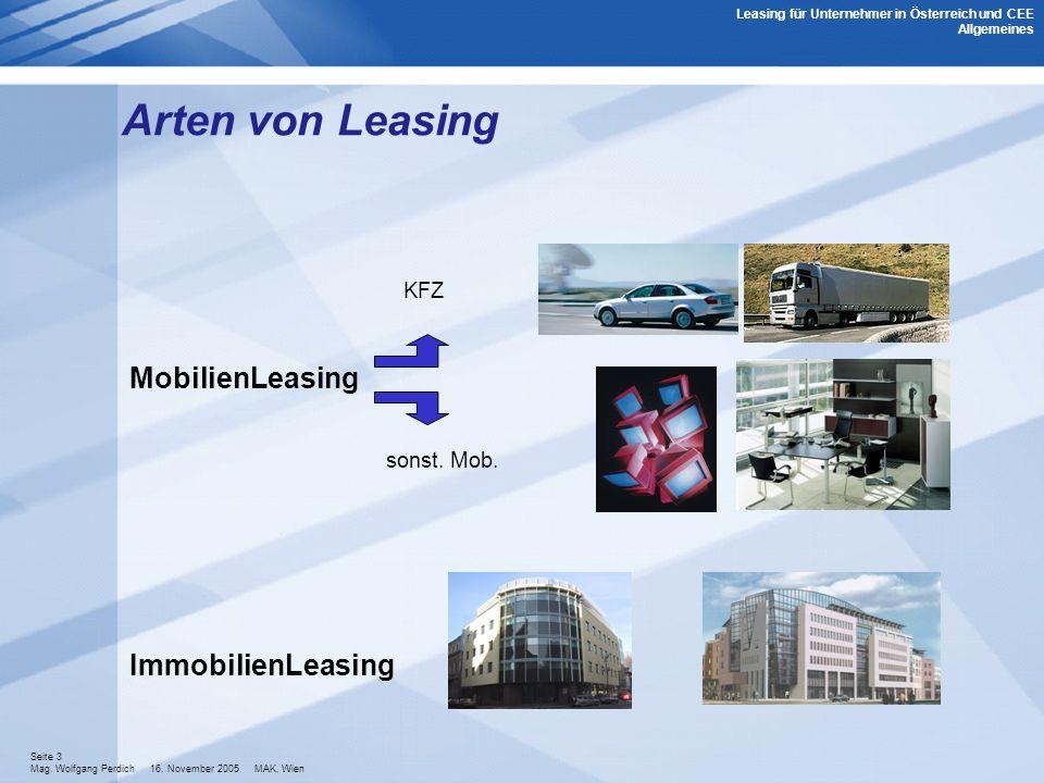 Seite 3 Mag. Wolfgang Perdich 16. November 2005 MAK, Wien Arten von Leasing KFZ MobilienLeasing sonst. Mob. ImmobilienLeasing Leasing für Unternehmer