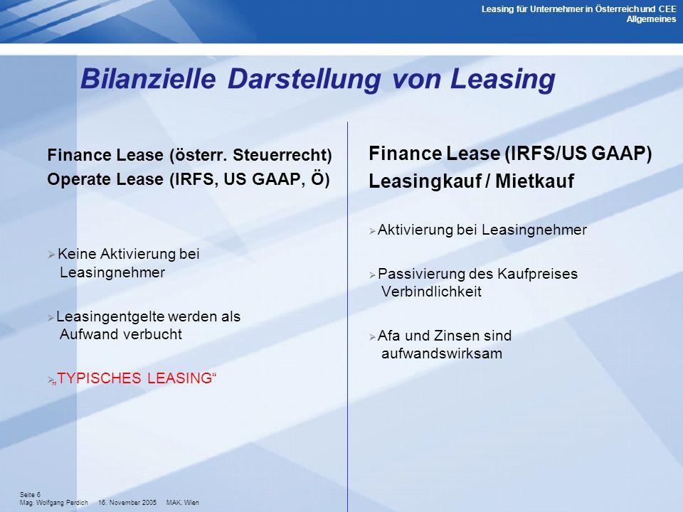 Seite 6 Mag. Wolfgang Perdich 16. November 2005 MAK, Wien Bilanzielle Darstellung von Leasing Leasing für Unternehmer in Österreich und CEE Allgemeine