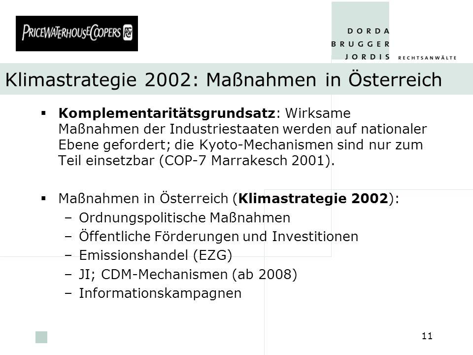 pwc 11 Klimastrategie 2002: Maßnahmen in Österreich Komplementaritätsgrundsatz: Wirksame Maßnahmen der Industriestaaten werden auf nationaler Ebene ge
