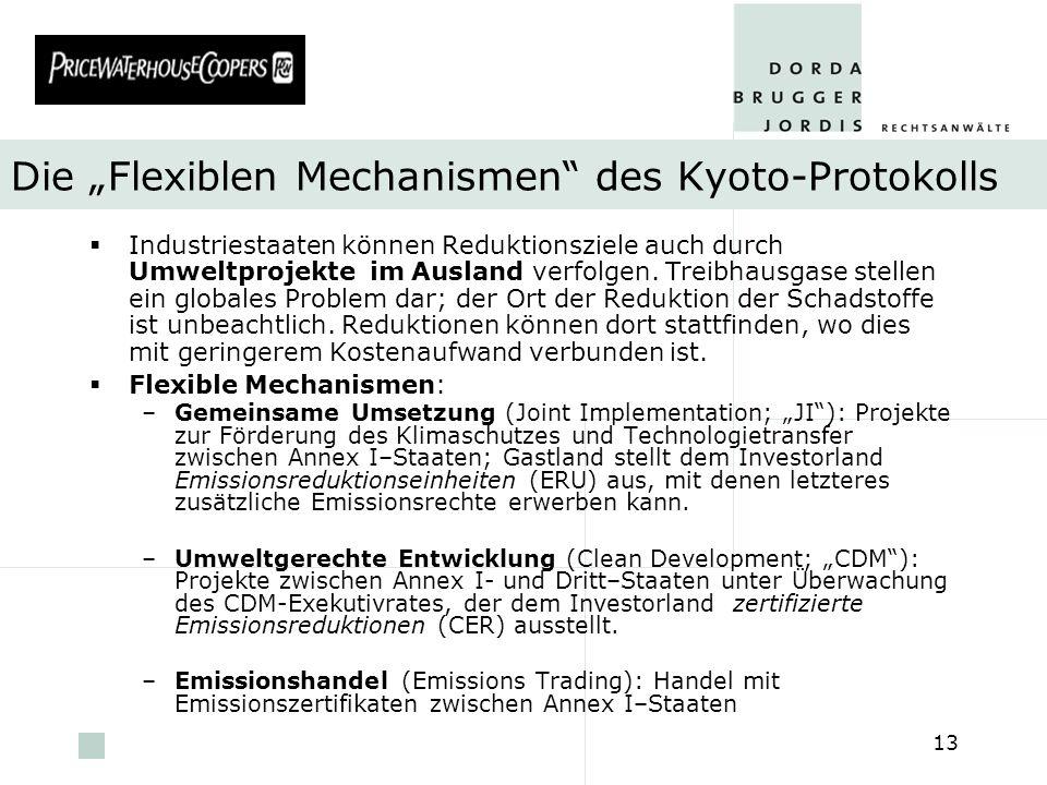 pwc 13 Die Flexiblen Mechanismen des Kyoto-Protokolls Industriestaaten können Reduktionsziele auch durch Umweltprojekte im Ausland verfolgen. Treibhau