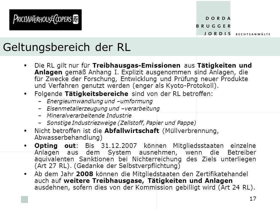 pwc 17 Geltungsbereich der RL Die RL gilt nur für Treibhausgas-Emissionen aus Tätigkeiten und Anlagen gemäß Anhang I. Explizit ausgenommen sind Anlage