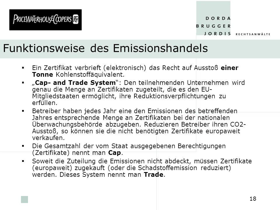 pwc 18 Funktionsweise des Emissionshandels Ein Zertifikat verbrieft (elektronisch) das Recht auf Ausstoß einer Tonne Kohlenstoffäquivalent. Cap- and T