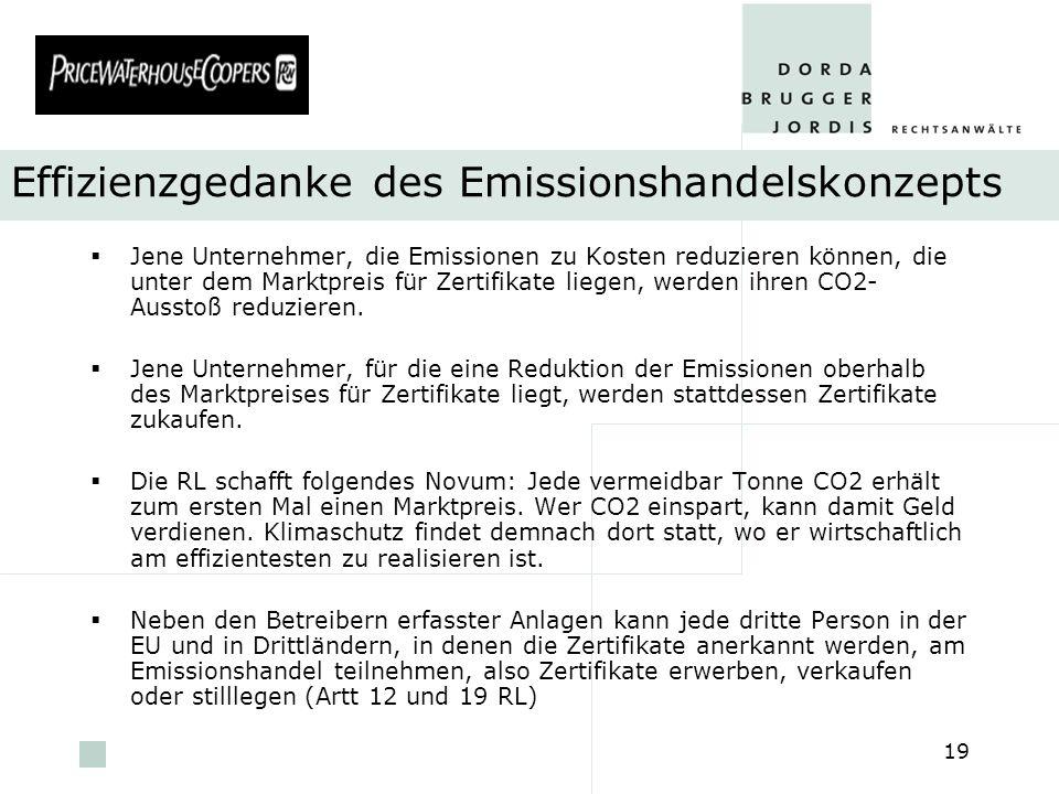 pwc 19 Effizienzgedanke des Emissionshandelskonzepts Jene Unternehmer, die Emissionen zu Kosten reduzieren können, die unter dem Marktpreis für Zertif