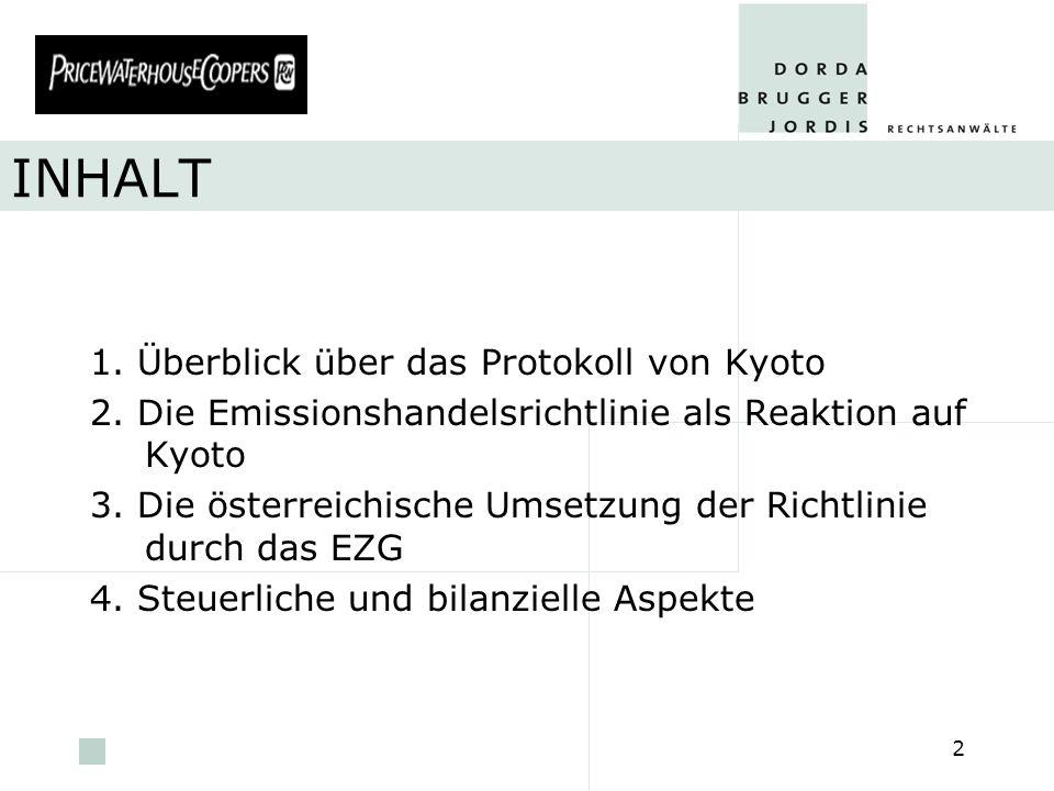 pwc 2 INHALT 1. Überblick über das Protokoll von Kyoto 2. Die Emissionshandelsrichtlinie als Reaktion auf Kyoto 3. Die österreichische Umsetzung der R
