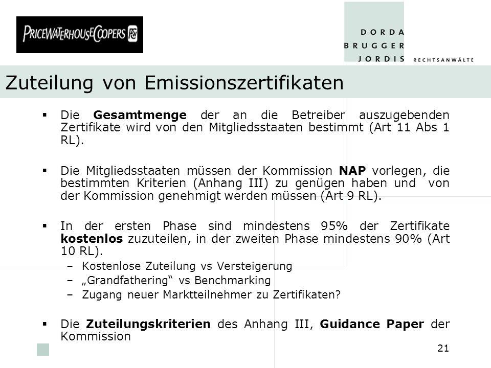 pwc 21 Zuteilung von Emissionszertifikaten Die Gesamtmenge der an die Betreiber auszugebenden Zertifikate wird von den Mitgliedsstaaten bestimmt (Art