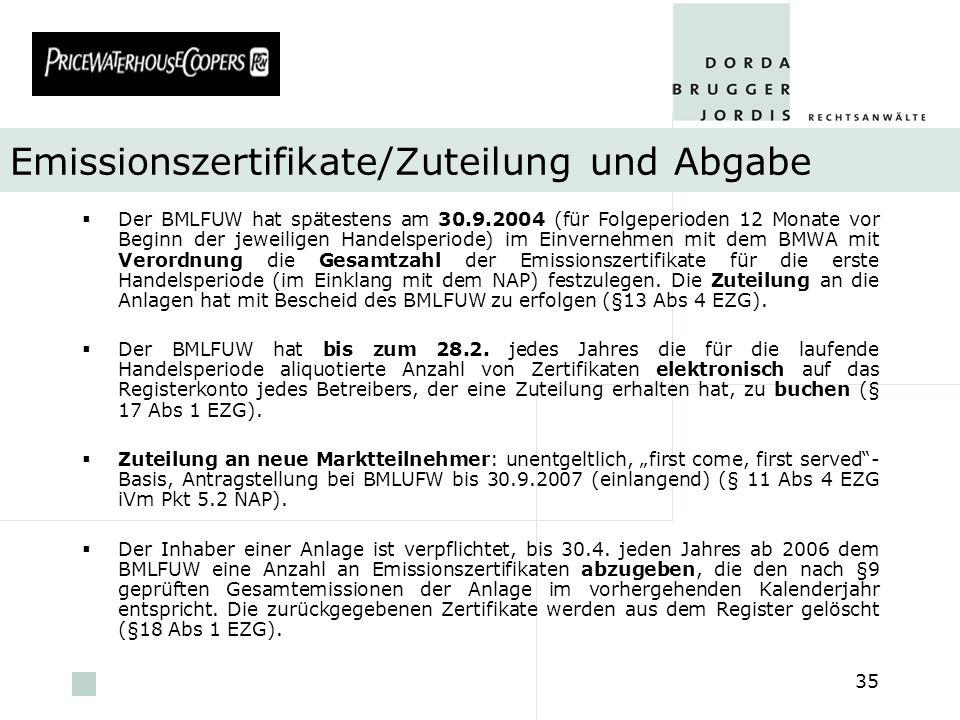 pwc 35 Emissionszertifikate/Zuteilung und Abgabe Der BMLFUW hat spätestens am 30.9.2004 (für Folgeperioden 12 Monate vor Beginn der jeweiligen Handels