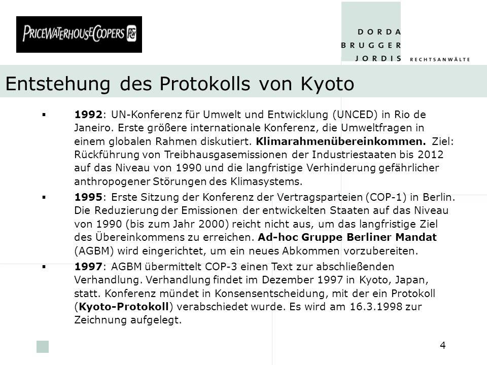 pwc 5 Inkrafttreten des Protokolls von Kyoto Ratifikation durch mindestens 55 Vertragsparteien Die ratifizierenden Staaten müssen gemeinsam mindestens 55 Prozent der Kohlendioxid-Emissionen des Jahres 1990 ausmachen Bis dato haben 122 Staaten das Protokoll ratifiziert, d.h.