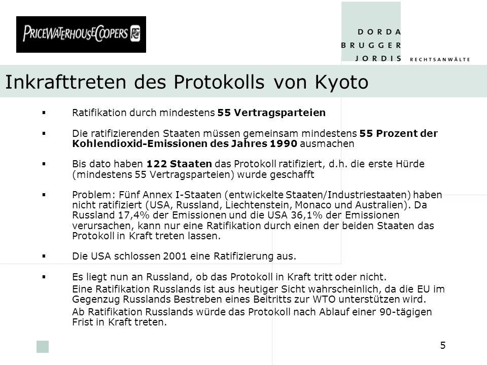 pwc 5 Inkrafttreten des Protokolls von Kyoto Ratifikation durch mindestens 55 Vertragsparteien Die ratifizierenden Staaten müssen gemeinsam mindestens