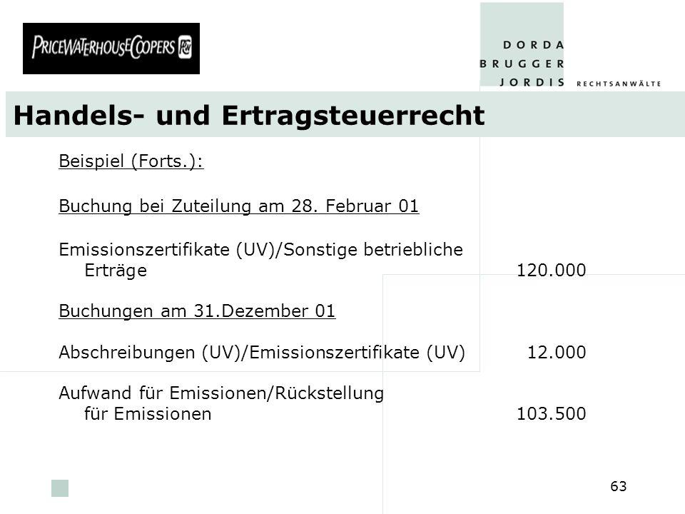 pwc 63 Handels- und Ertragsteuerrecht Beispiel (Forts.): Buchung bei Zuteilung am 28. Februar 01 Emissionszertifikate (UV)/Sonstige betriebliche Erträ