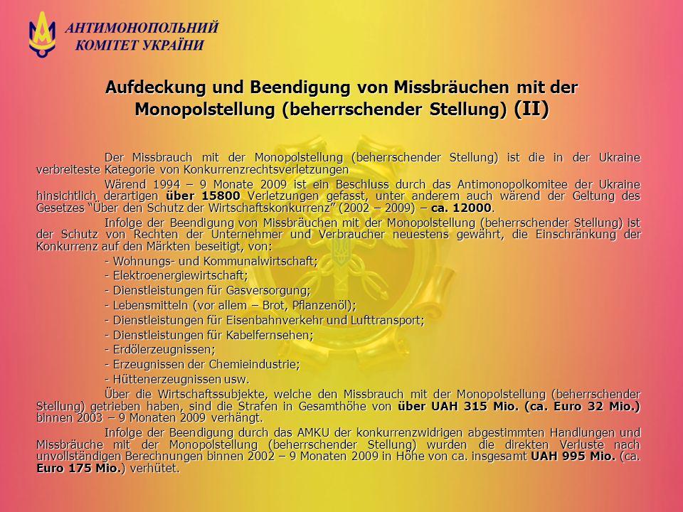 Aufdeckung und Beendigung von Missbräuchen mit der Monopolstellung (beherrschender Stellung) (ІІ) Der Missbrauch mit der Monopolstellung (beherrschend