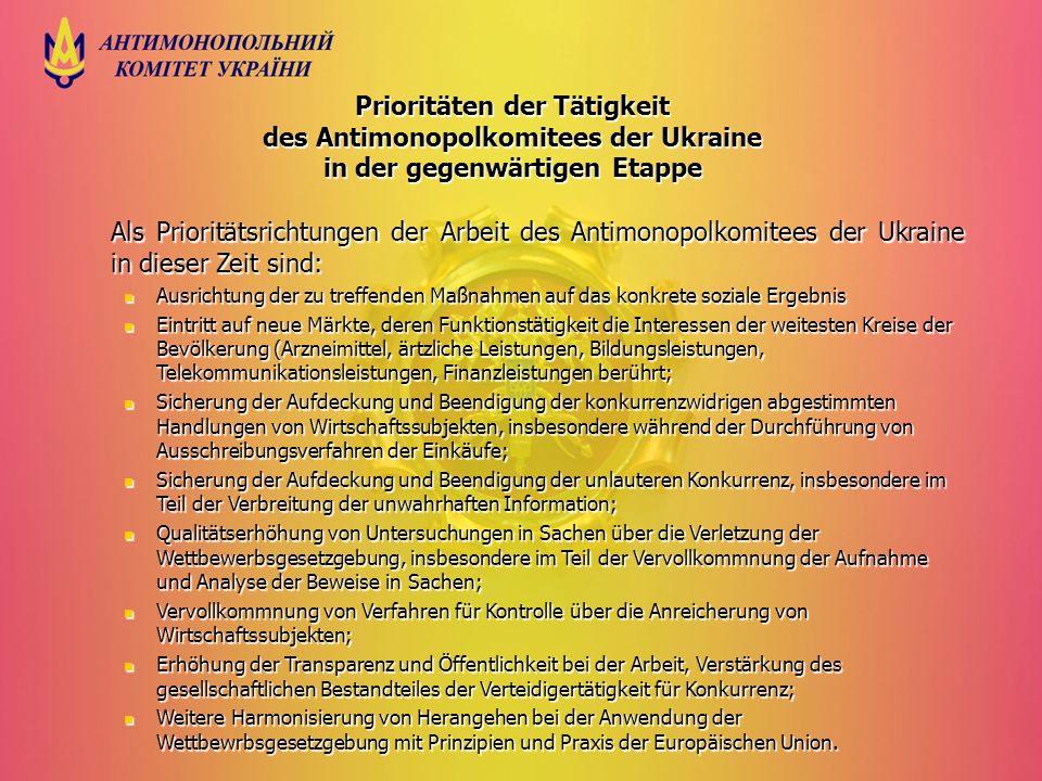 Prioritäten der Tätigkeit des Antimonopolkomitees der Ukraine in der gegenwärtigen Etappe Als Prioritätsrichtungen der Arbeit des Antimonopolkomitees