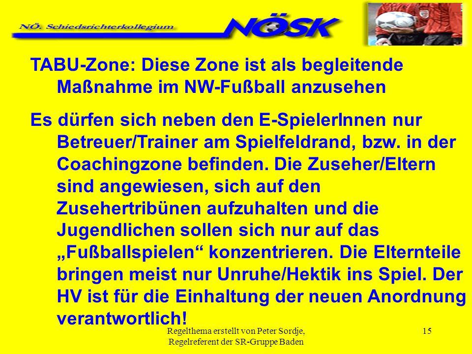 Regelthema erstellt von Peter Sordje, Regelreferent der SR-Gruppe Baden 15 TABU-Zone: Diese Zone ist als begleitende Maßnahme im NW-Fußball anzusehen