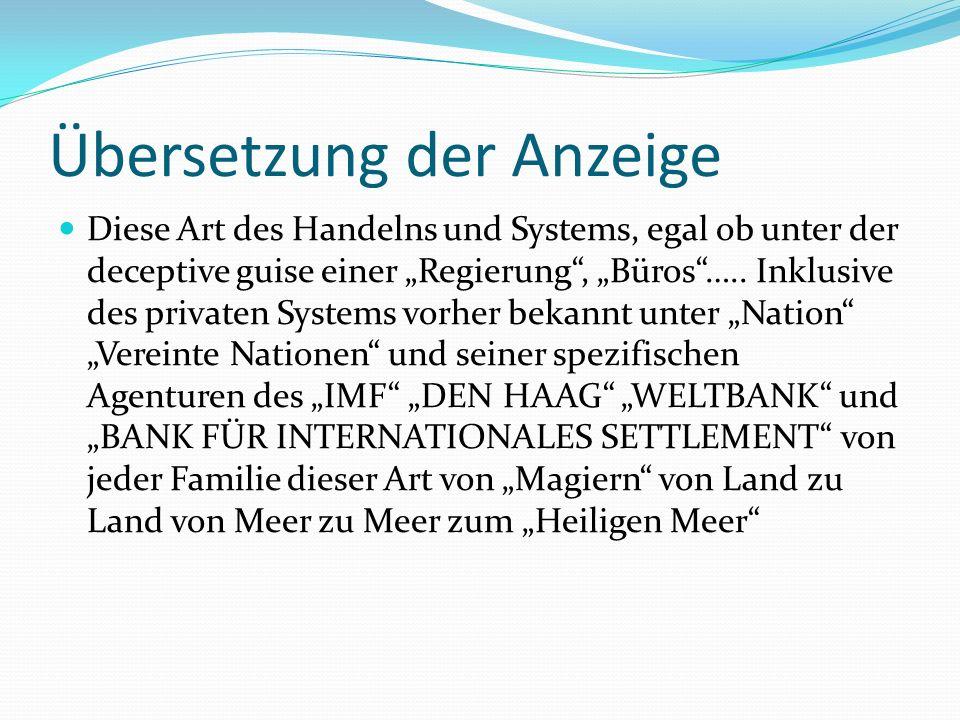 Übersetzung der Anzeige Diese Art des Handelns und Systems, egal ob unter der deceptive guise einer Regierung, Büros…..
