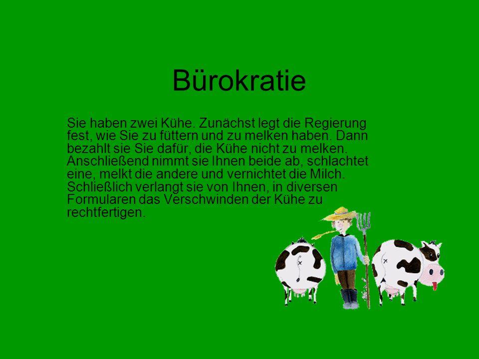 Bürokratie Sie haben zwei Kühe.