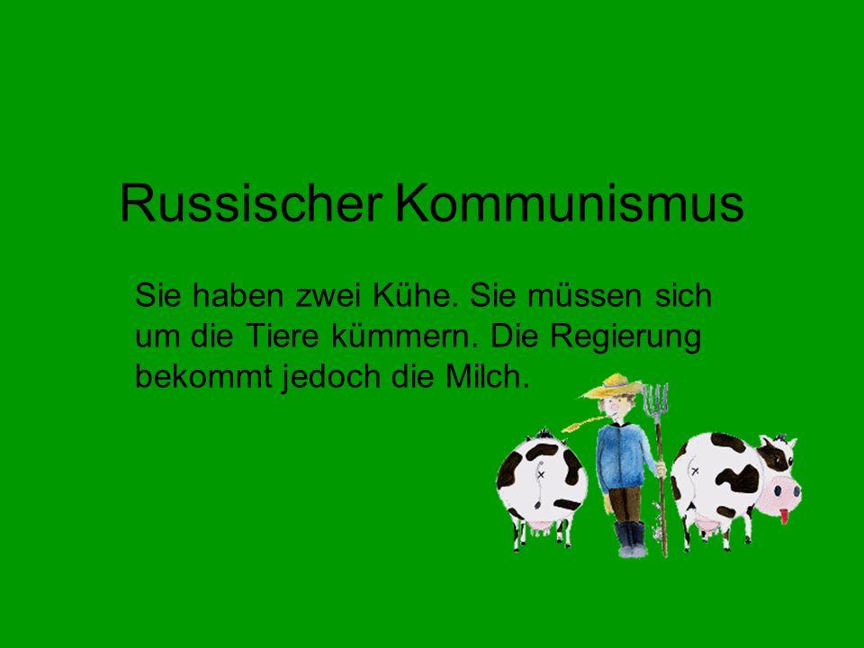 Russischer Kommunismus Sie haben zwei Kühe.Sie müssen sich um die Tiere kümmern.