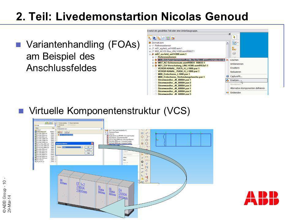 © ABB Group - 10 - 29-Mar-14 2. Teil: Livedemonstartion Nicolas Genoud Variantenhandling (FOAs) am Beispiel des Anschlussfeldes Virtuelle Komponentens