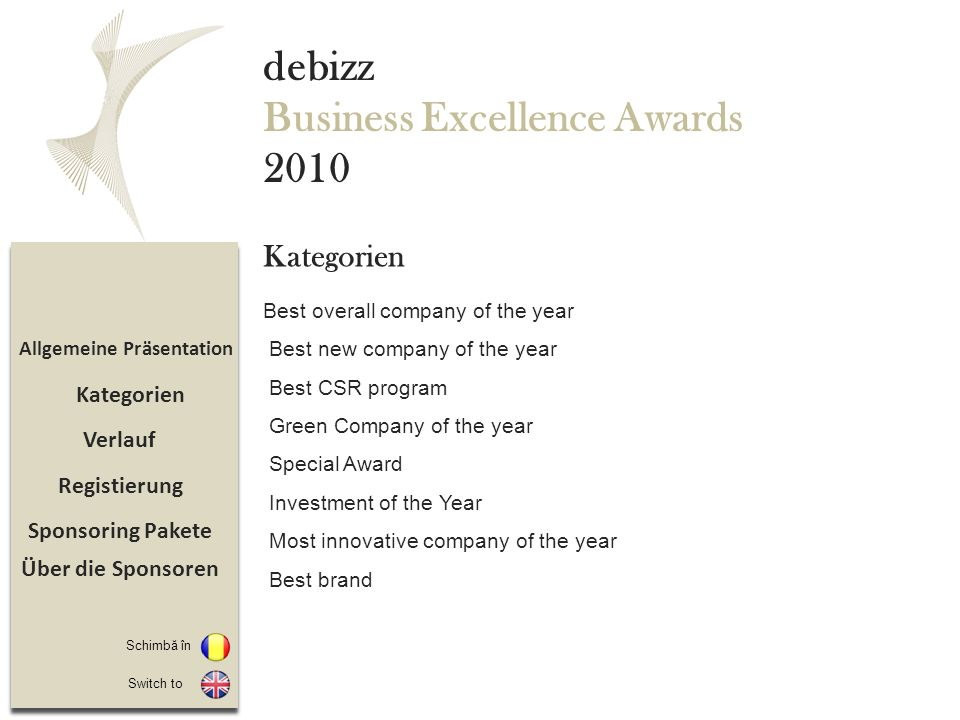 Sponsoring Pakete Registierung Verlauf Allgemeine Präsentation debizz Business Excellence Awards 2010 Best overall company of the year Best new compan