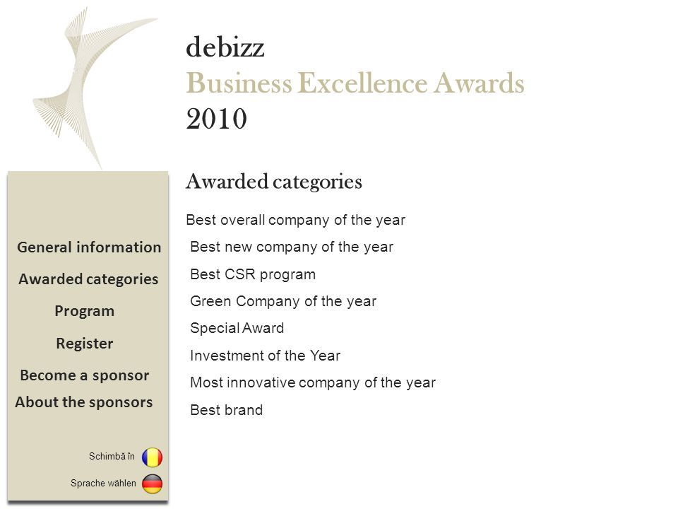 Become a sponsor Register Program General information debizz Business Excellence Awards 2010 Best overall company of the year Best new company of the year Best CSR program Green Company of the year Special Award Investment of the Year Most innovative company of the year Best brand Awarded categories Sprache wählen Schimbă în About the sponsors