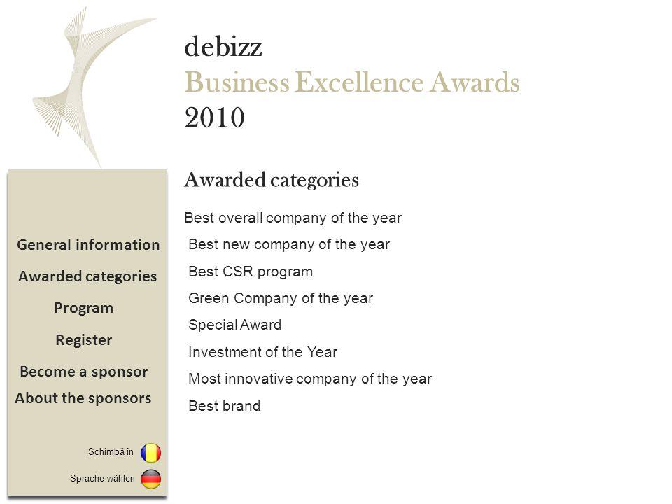 Promovare Înregistrare Program Detalii eveniment debizz Business Excellence Awards 2010 Aflata la prima editie, gala Debizz Business Excellence Awards isi propune sa premieze intr-un cadru festiv companii si manageri ai companiilor cu capital german, austriac si elvetian ce activeaza pe piata din Romania, pentru rezultatele inregistrate si proiectele desfasurate/ finalizate pe parcursul anului 2010.