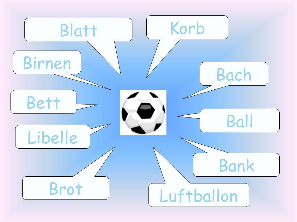 Bach Bank Birnen Blatt Libelle Luftballon Ball Bett Korb Brot