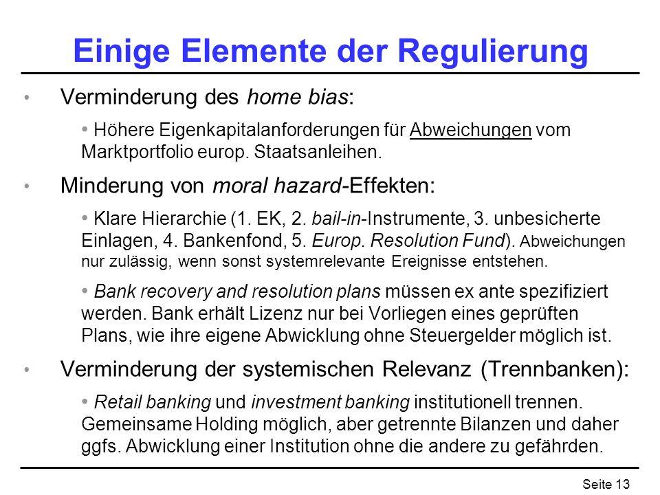 Seite 13 Einige Elemente der Regulierung Verminderung des home bias: Höhere Eigenkapitalanforderungen für Abweichungen vom Marktportfolio europ.