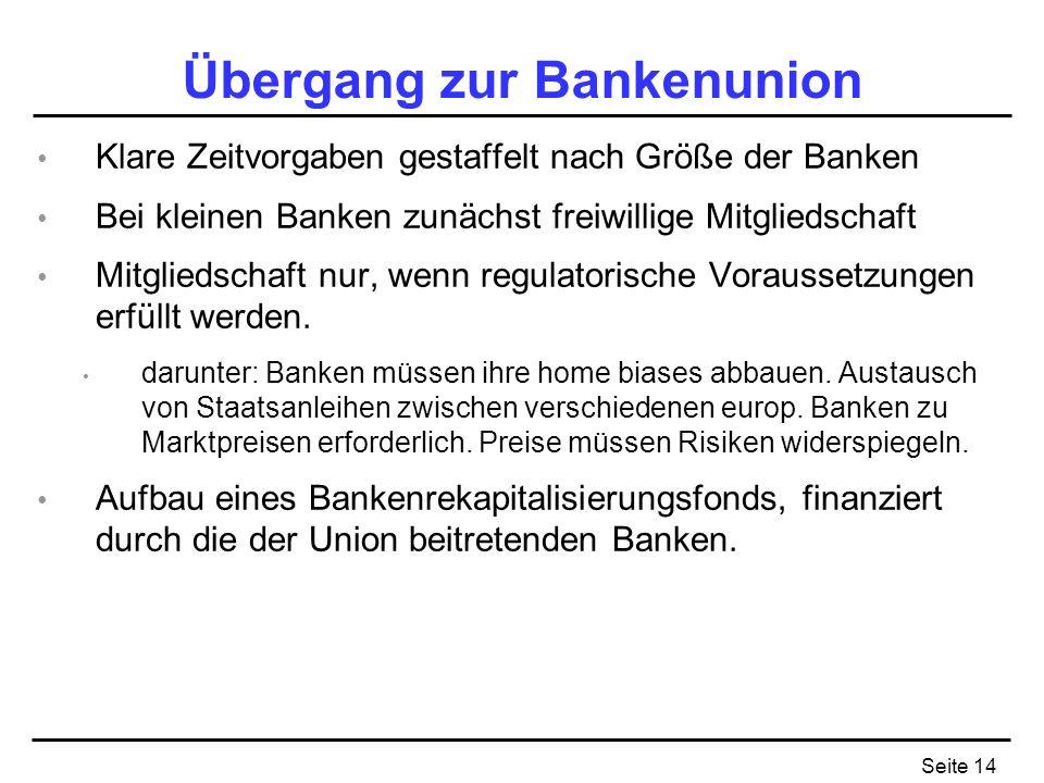 Seite 14 Übergang zur Bankenunion Klare Zeitvorgaben gestaffelt nach Größe der Banken Bei kleinen Banken zunächst freiwillige Mitgliedschaft Mitgliedschaft nur, wenn regulatorische Voraussetzungen erfüllt werden.