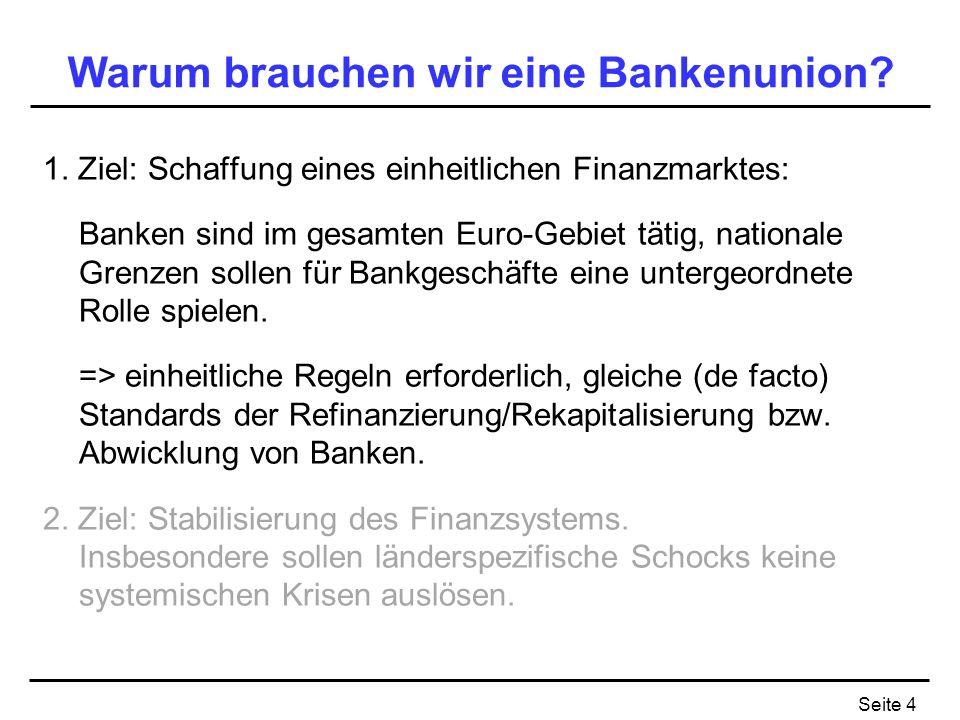 Seite 4 Warum brauchen wir eine Bankenunion? 1. Ziel: Schaffung eines einheitlichen Finanzmarktes: Banken sind im gesamten Euro-Gebiet tätig, national