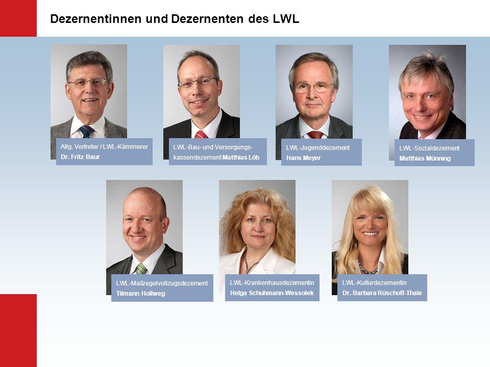 Dezernentinnen und Dezernenten des LWL LWL-Jugenddezernent Hans Meyer LWL-Krankenhausdezernentin Helga Schuhmann-Wessolek LWL-Bau- und Versorgungs- ka