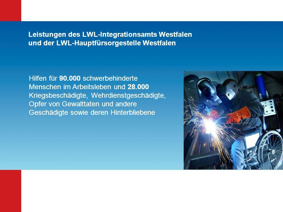 Leistungen des LWL-Integrationsamts Westfalen und der LWL-Hauptfürsorgestelle Westfalen Hilfen für 90.000 schwerbehinderte Menschen im Arbeitsleben un