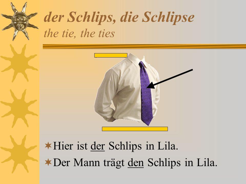 der Schlips, die Schlipse the tie, the ties Hier ist der Schlips in Lila. Der Mann trägt den Schlips in Lila.