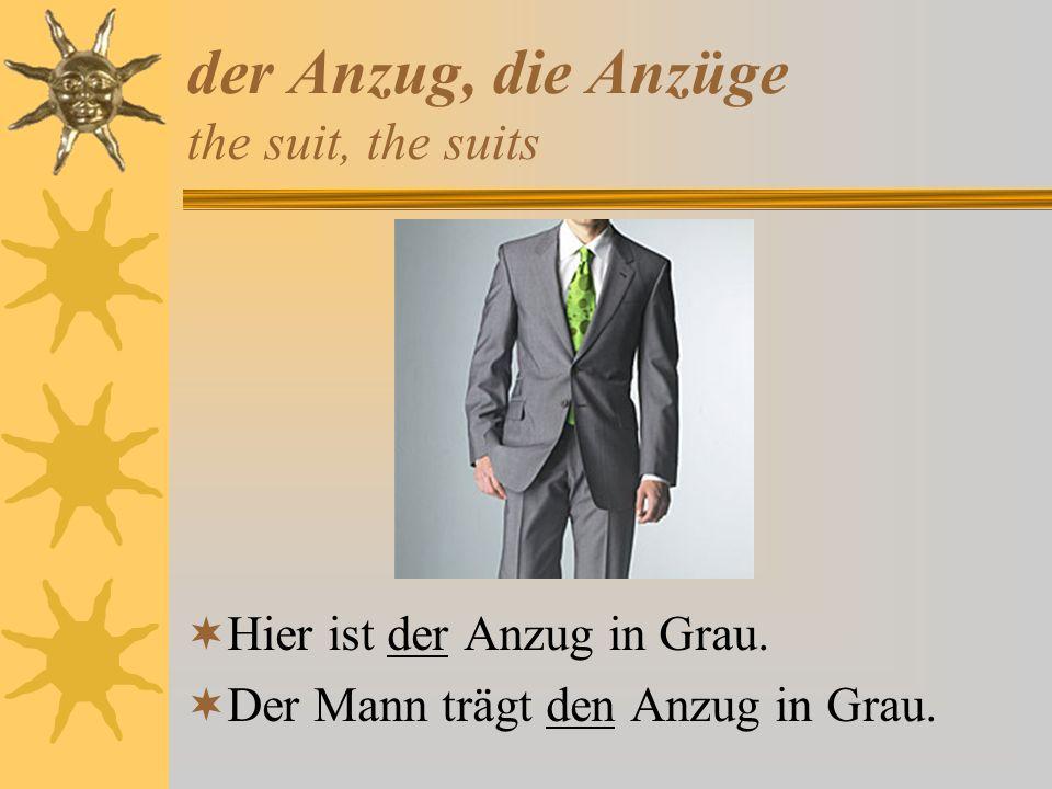 der Anzug, die Anzüge the suit, the suits Hier ist der Anzug in Grau. Der Mann trägt den Anzug in Grau.