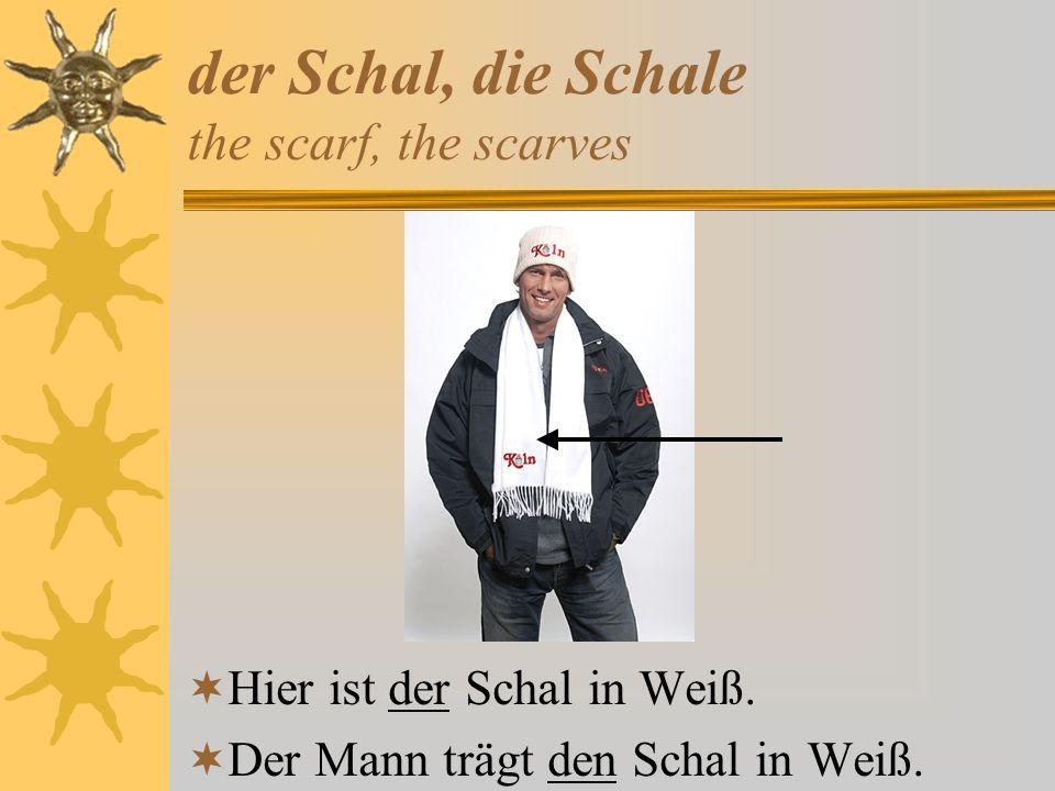 der Schal, die Schale the scarf, the scarves Hier ist der Schal in Weiß. Der Mann trägt den Schal in Weiß.