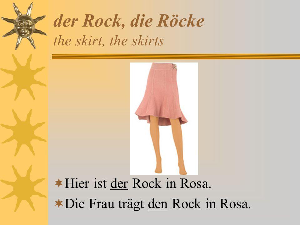 der Badeanzug, die Badeanzüge the bathing suit, the bathing suits Hier ist der Badeanzug in Rosa und Weiß.